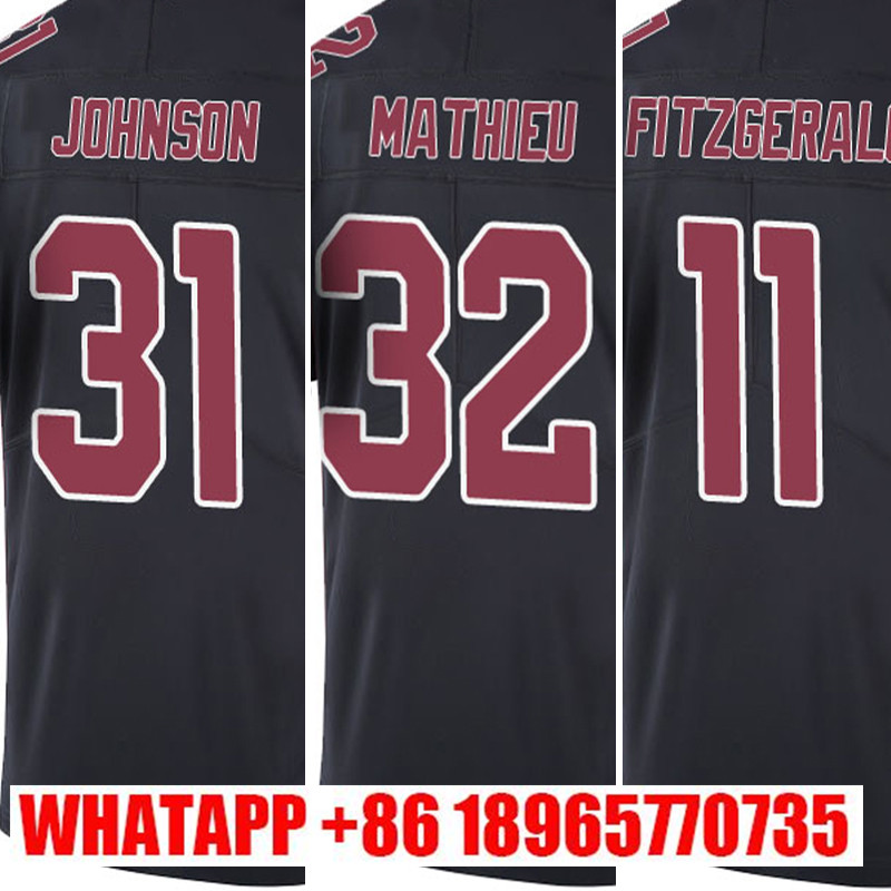 #31 David Johnson embroidery #32 Tyrann Mathieu #11 Larry Fitzgerald Stitched Black Color Rush Limited Free Shipping(China (Mainland))