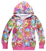 Shopkins  2016 New Arrival spring & fall Children zipper jacket girl's Clothing 100%cotton(China (Mainland))