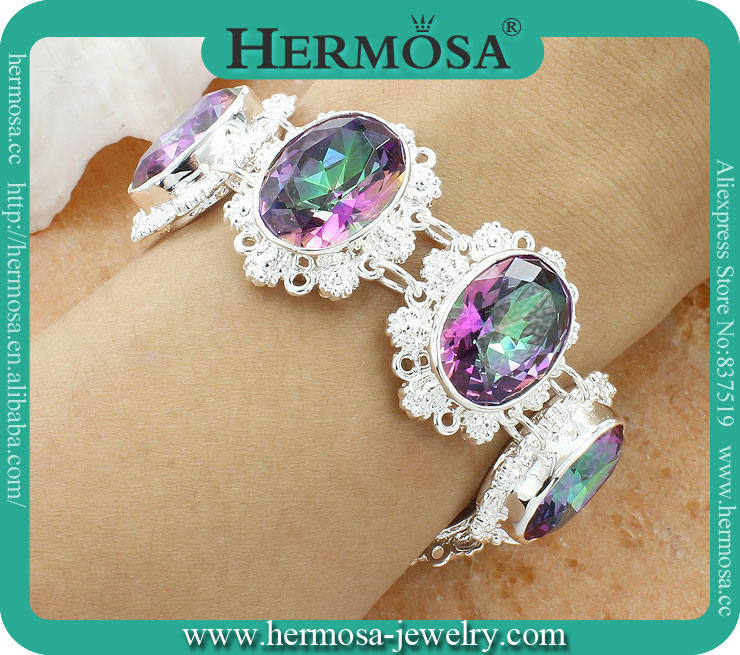 925 Sterling Silver Hermosa Jewlery Rainbow Mystic Topaz Women Charm Bracelet Vners 7.75AB017<br><br>Aliexpress