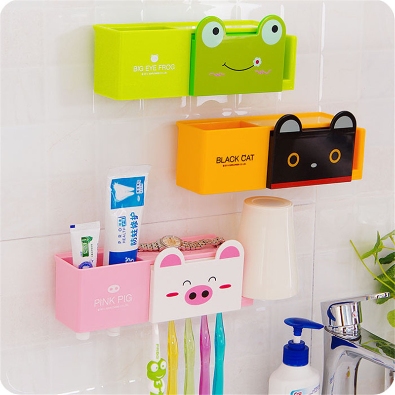 Toothbrush Wall Suction Bathroom Sets Cartoon Sucker Toothbrush Holders Free Shipping(China (Mainland))