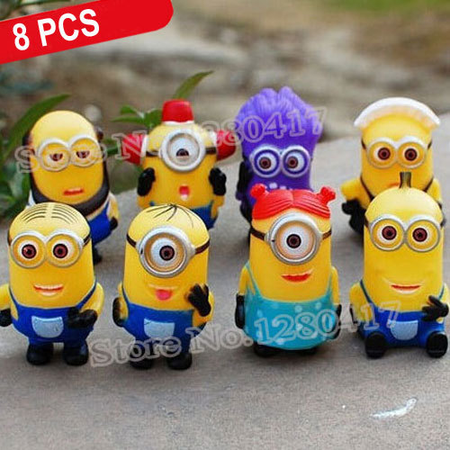 New 8 PCS/Set Baby Toy Minion 5cm 3D Eye Despicable Me 2 Minions Purple Figure Set PVC Doll Kid Gift With Tracking Code In Stock(China (Mainland))
