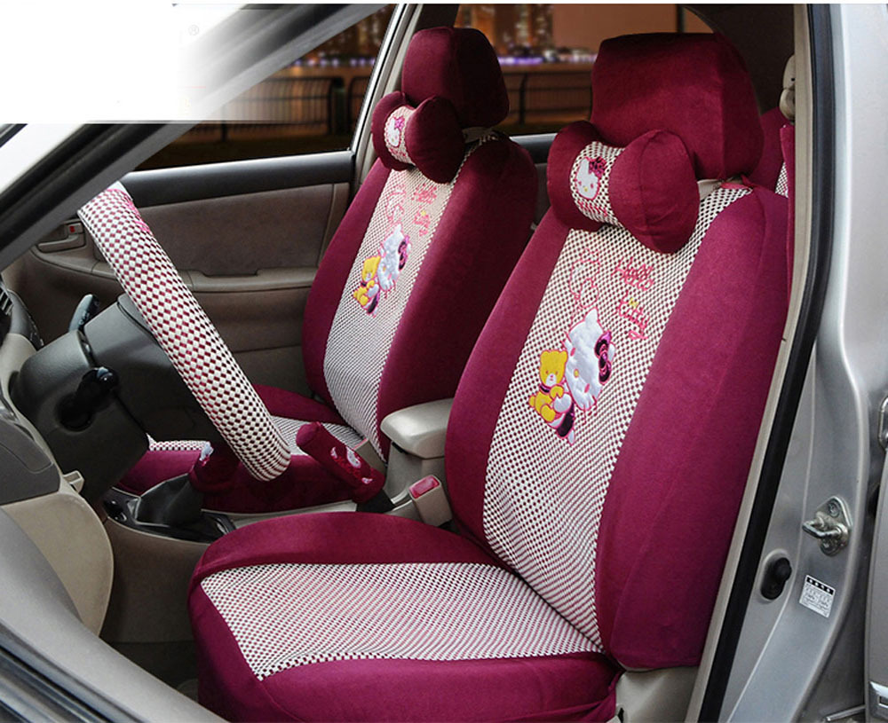 1 set hello kitty embroider car front and passeng er seat cover car steering wheel. Black Bedroom Furniture Sets. Home Design Ideas
