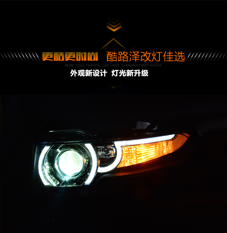 car styling For Toyota Fj CRUISER headlights U angel eyes DRL 2008-14 For Fj CRUISER LED light bar DRL Q5 bi xenon lens h7 xenon