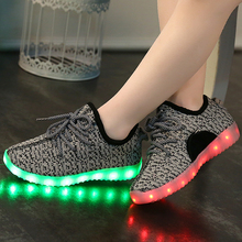 Children USB Rechargeable Led Sneakers Lightweight Kids Led Shoes Fashion Weave Sneaker for Boys and Girls Casual Kid Shoes(China (Mainland))