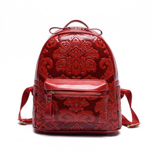 New 2016 fashion feminine printing backpack women school bags for teenagers leather Style Vintage school Bag women's backpack(China (Mainland))