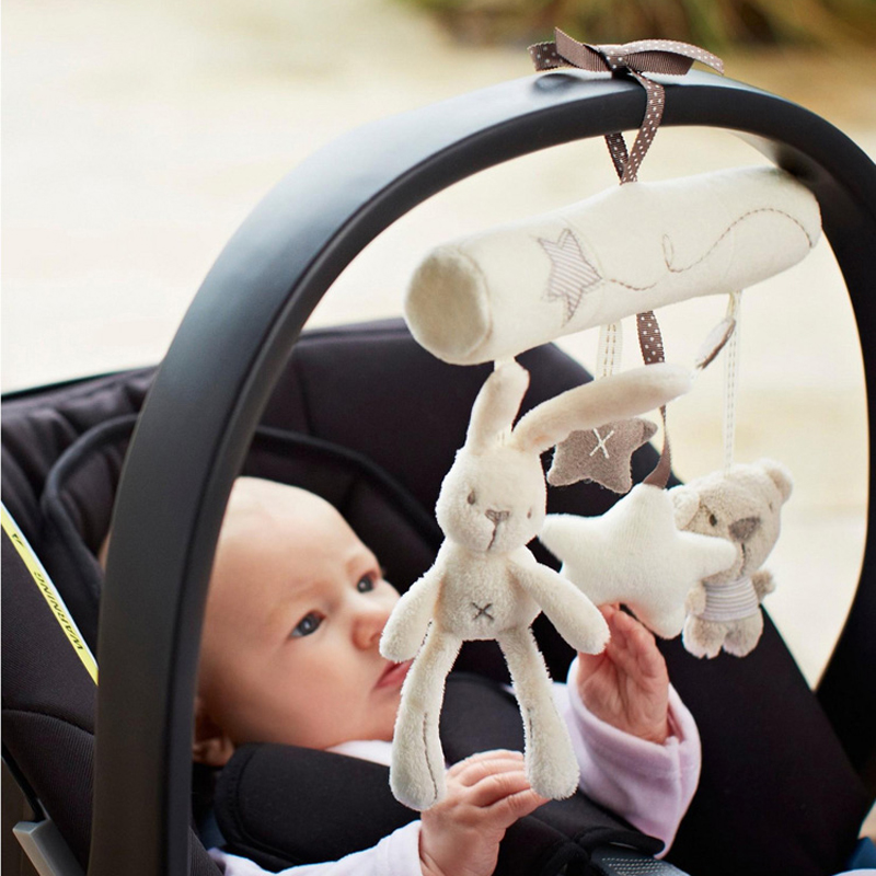 Rabbit baby music hanging bed safety seat plush toy Hand Bell Multifunctional Plush Toy Stroller Mobile Gifts WJ141(China (Mainland))