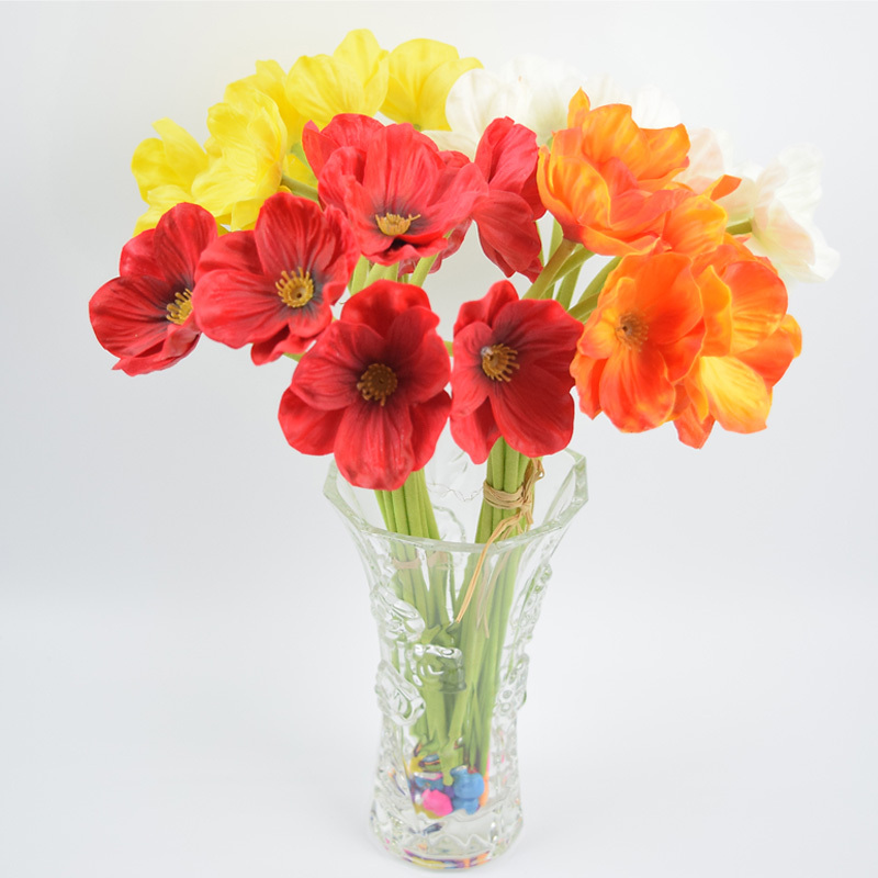 Top Sale Artificial Flowers PU Poppy Bush Latex Material 2 Bouquets/Lot Real Touch Wedding Bridal Wholesale Flores Artificiais(China (Mainland))