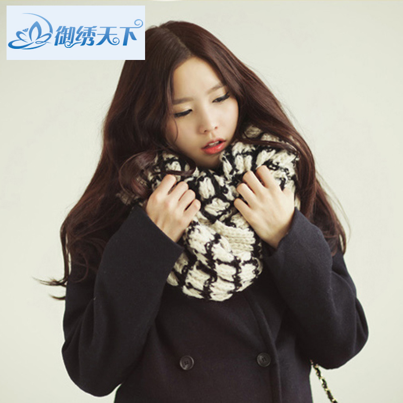 2014 lovers scarf mohair fashion female small plaid yarn scarf male bulkness thermal muffler scarf(China (Mainland))