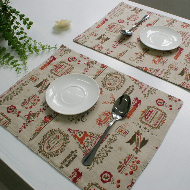 4pcslot christmas placemat dining table mat kitchen placemats for table decoration accessories linen material - Kitchen Table Mats