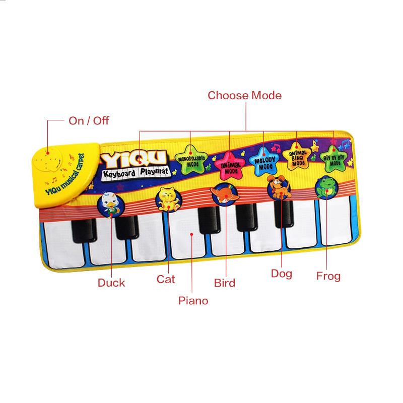 фортепианной музыки игр коврики сенсорный тип электронных мат многофункциональные детские играть обхода мат животных звучит поет игрушки для малышей подарок