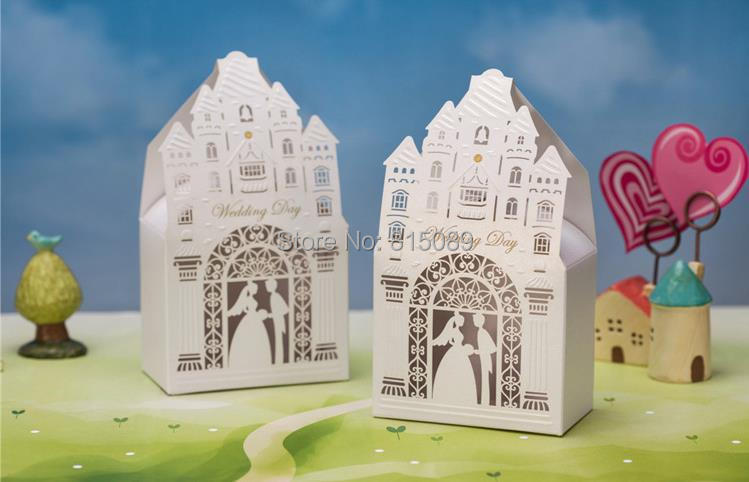 Laser Cut Castle Bride & Groom White Wedding Candy Box Favor Holders Gift Case Wishmade - WOW Supermarket store