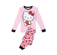 Hello kitty kids pajama sets girls clothing set sleepwear two-pieces suit Cotton children's winter clothing 2-7 years