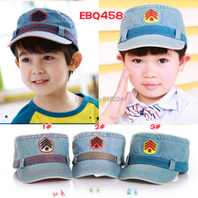 2015 New Cool Baby Boys Military Hats Caps Kid Flat Hat Baby Sunbonnet Sun Hats Boy Cap for 2-6 years Free Shipping(China (Mainland))