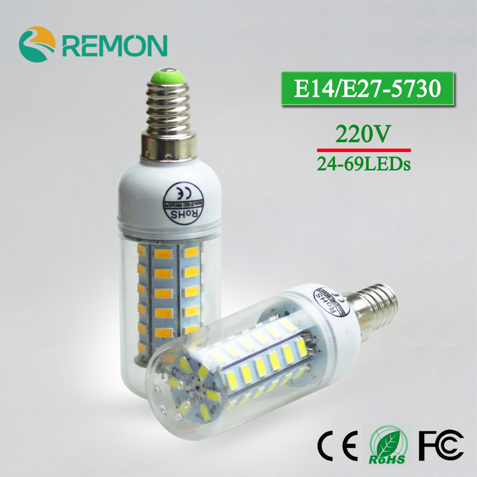 E27/E14 LED Super Corn Bulb 220V 5730 SMD LED Lamp 24/36/48/56/69leds LED Bulb Superlight Chandelier LED Spot Bulb