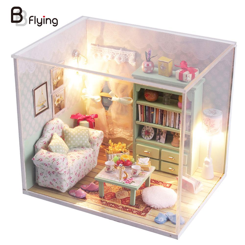 2016 diy wood doll house mini furniture kit set baby toys doll house miniature with led brand baby wooden doll house