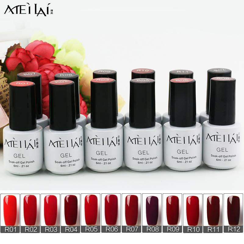 New Style 1pcs Colorful Soak Off Nail Gel Polish 6ml Long Lasting UV Gel For Nail Art Beauty 12 Red Colors(China (Mainland))