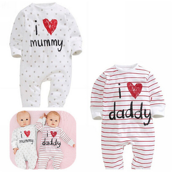 baby rompers 2015 Newborn I love mummy & daddy Baby Costume Girls Boy Jumpsuit clothing Winter Romper Body BABY CLOTHES Bebes(China (Mainland))