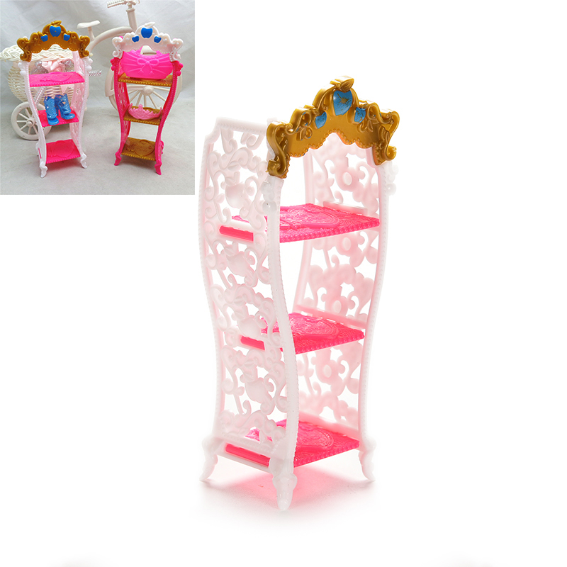 1Pc Doll Toy Shoe Cabinet Mini Living Room Home Furniture Color Random Kids Playhouse Shoes Storage Rack Doll Accessories(China (Mainland))