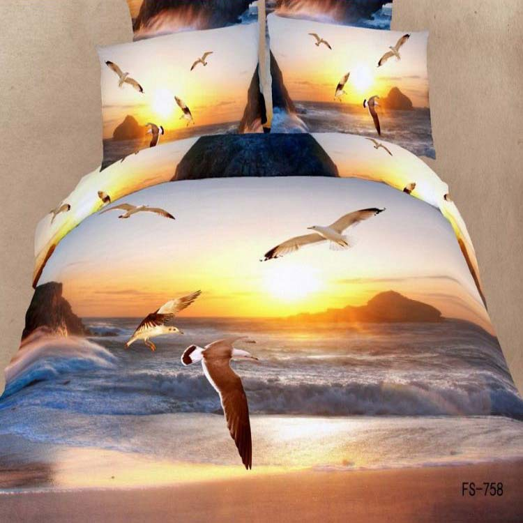 Hovering flying Seagull and sea 3D oil printed bird 100% cotton 4pcs comforter/duvet cover bedsheet bedding set Queen size B2391(China (Mainland))