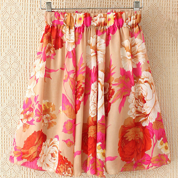 Vintage Women Chiffon Skirt High Elastic Waist Floral Printed Bohemian Beach Casual Knee-length Pleated - Fashion World's store
