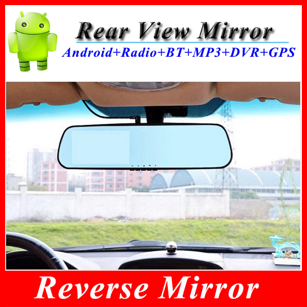 4.3inch 1080P Car DVR Android 4.0 GPS Navigation car Rear View Mirror with wifi USB SD Car video recorder(China (Mainland))