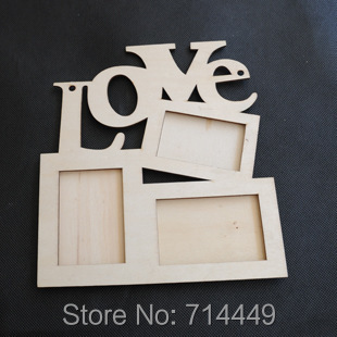 Hollow Love Wooden Photo Frame White Base DIY Picture Frame Art Decor 3 Boxes Handmade Irregular Family Photo Frame(China (Mainland))