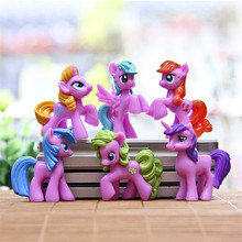 J259 Kawaii!! 6pcs/set 4-5cm Animation Kids Toys Little Horse Action Figure Toy Cartoon MLP Rainbow Horse Children's Gift (China (Mainland))
