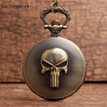 The ONE PIECE Comics Brook Design Pocket Watch With FOB Chain Skeleton Steampunk Bronze Mens Women