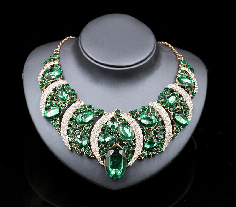 6 цветов Ювелирные наборы позолоченные Себе ожерелье для свадьбы Женщины Модные Кристалл Boho ожерелье с серьгами