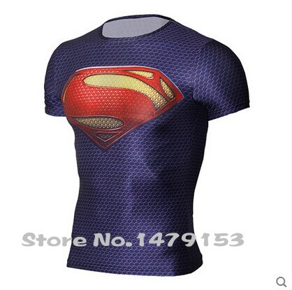 2015 new compressed Captain America t-shirt hot superman/batman t shirt men sports quick dry fitness clothing Free shipping(China (Mainland))