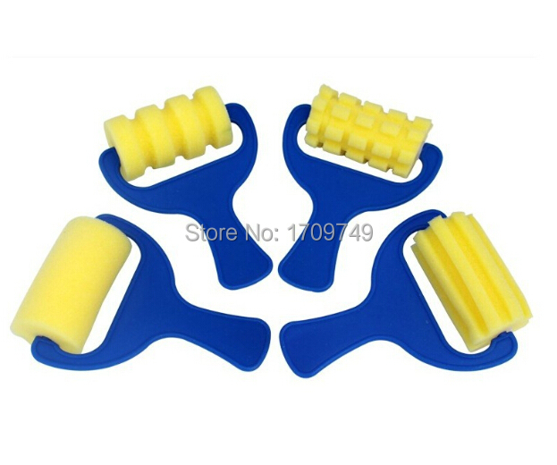 L size Blue Handle Yellow Sponge Roller Brush Suit Children'S Graffiti Tool 4pcslot Seal Diy Early Childhood Art Materials(China (Mainland))