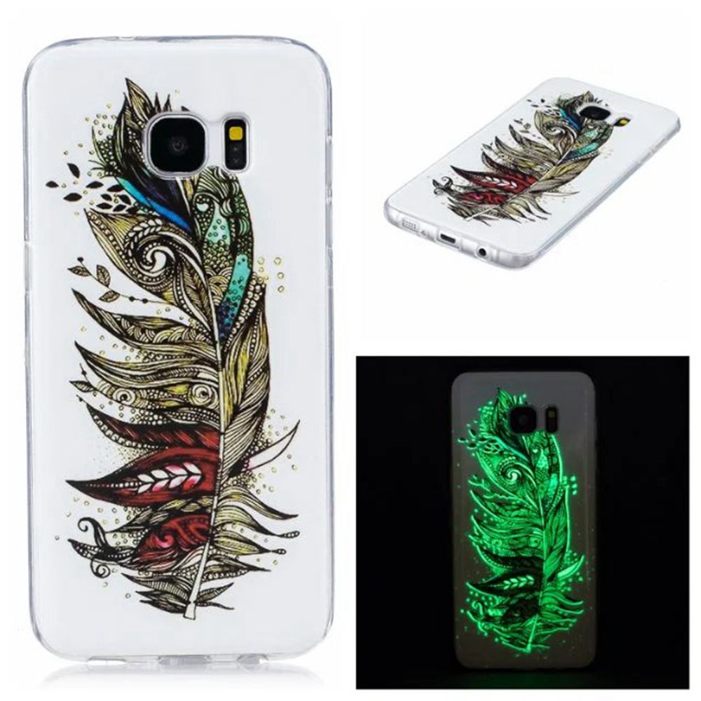 Luxury Paint Flower Luminous TPU Case for Samsung Galaxy S7 Edge Silicon Cover Phone Protective Case Cover for Samsung S7 Edge(China (Mainland))