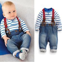 2PCS Baby Boys Toddler Striped T-shirt Top+Fashion Jeans Bib Pants Clothes Sets 0-3Y (China (Mainland))
