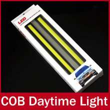 2 X 12V Super Bright White 6W COB LED DRL Driving Daytime Running Lights lamp Aluminum Chip Bar Panel free shipping