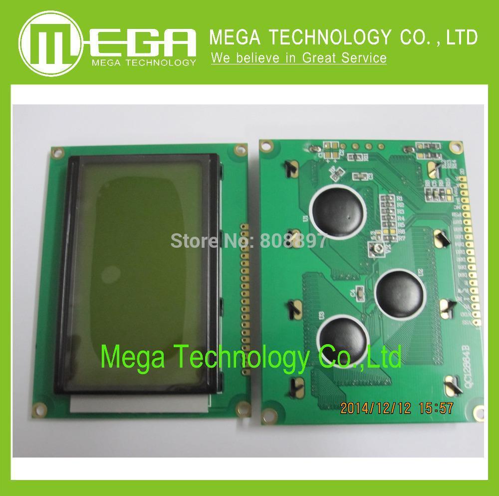 Free shipping 5pcs LCD 12864 128x64 Dots Graphic Yellow Green Color Backlight LCD Display Shield 5.0V(China (Mainland))