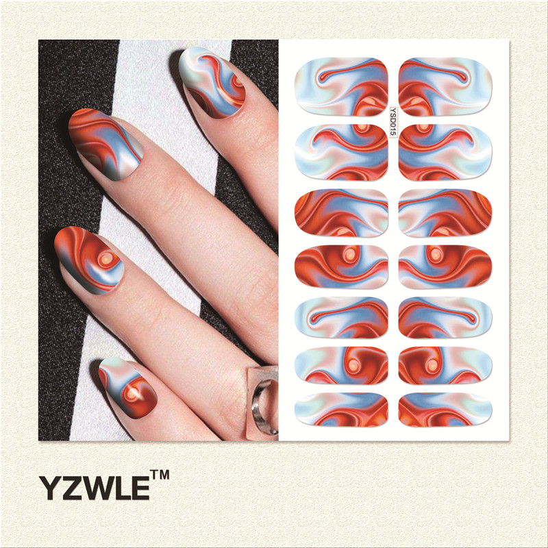 YZWLE 1 Sheet Water Transfer Nails Art Sticker Manicure Decor Tool Cover Nail Wrap Decal (YSD015)(China (Mainland))