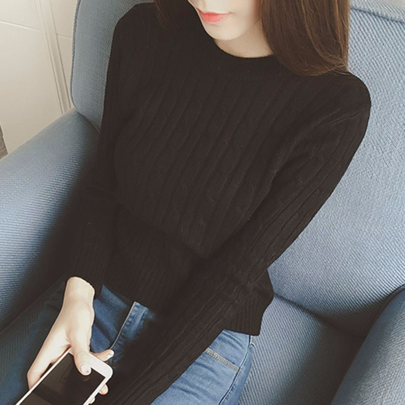 2016 Autumn New Thread Knitted Pullovers Bottoming Long Sleeve O-neck Women Sweaters And Pullovers Solid Slim Knitted Sweater