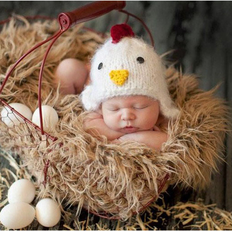 2016 newborn Cute chicken Photo props 0-3 month infant baby crochet hat costume cap photography props recem nascido foto(China (Mainland))