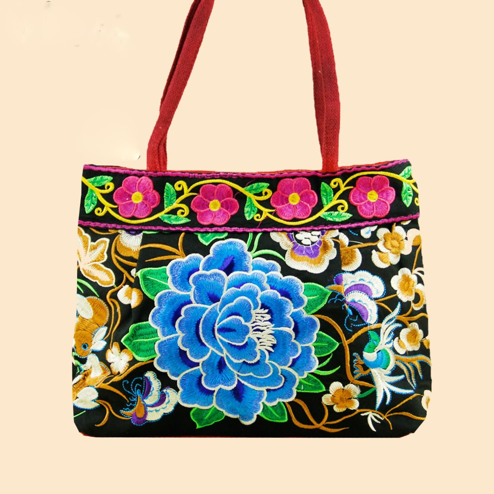 New 2016 Women Fashion Canvas Bags Chinese Style Ethnic Embroidery Handbags 6 Colors Protable Totes Top-Handle Bags(China (Mainland))