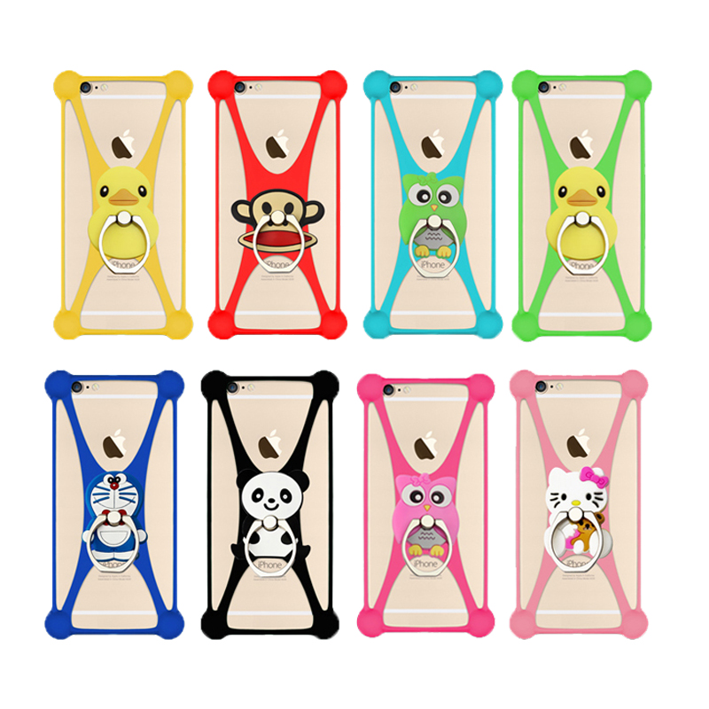 Fashion Cartoon Ring Stand Holder Soft Silicone Case For Ginzzu S5020 Cell Phone Universal 3.5 - 5.5 Inch Bumper Frame Cover(China (Mainland))