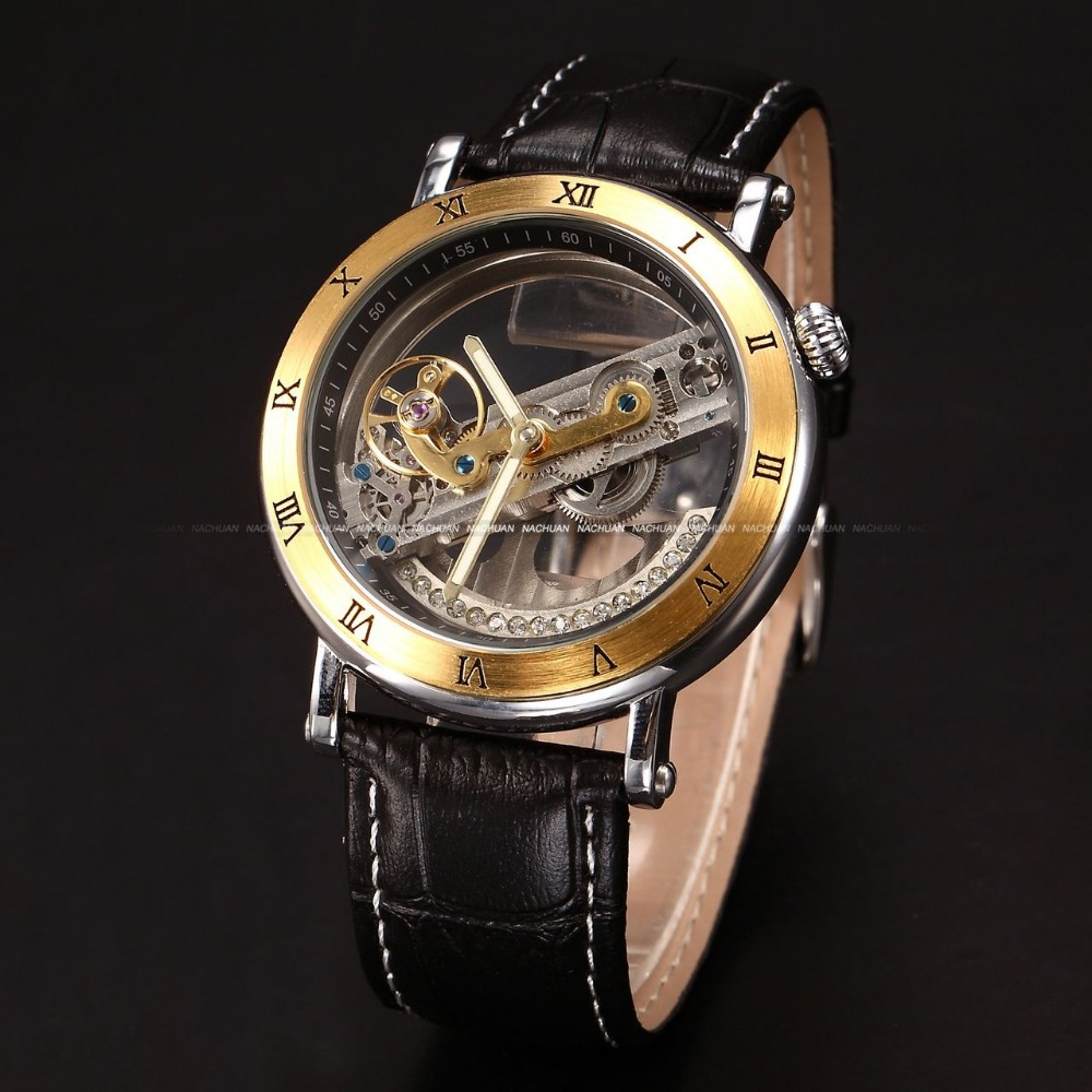 watch handmade picture more detailed picture about classic classic vintage luxury gold steampunk transparent skeleton men automatic mechanical black leather belt wrist dress watch