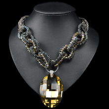 Buy Big crystal pendant neckalce water drop pendant chain chunky gun black chocker collar necklace for $5.22 in AliExpress store