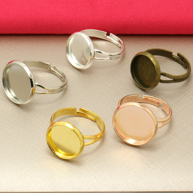 10x 20mm Square Adjustable Ring Settings fit 20mm glass cabochons bead stone