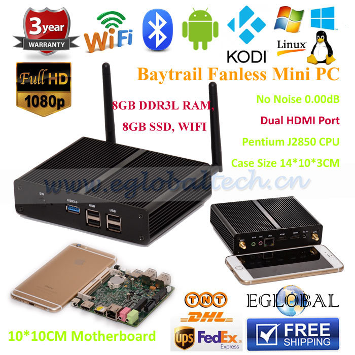 Fanless Small Server PC Pentium J2850 Quad Core 2.41GHz Baytrail Android TV BOX Windows 8.1 HTPC Media Player Mini Computer(China (Mainland))