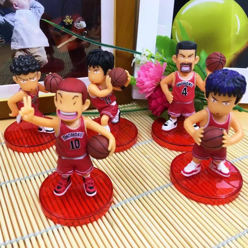 5pcs/lot Japan Anime Slam Dunk PVC Action Figures Basketball Toys Sakuragi Hanamichi Key Chain(China (Mainland))