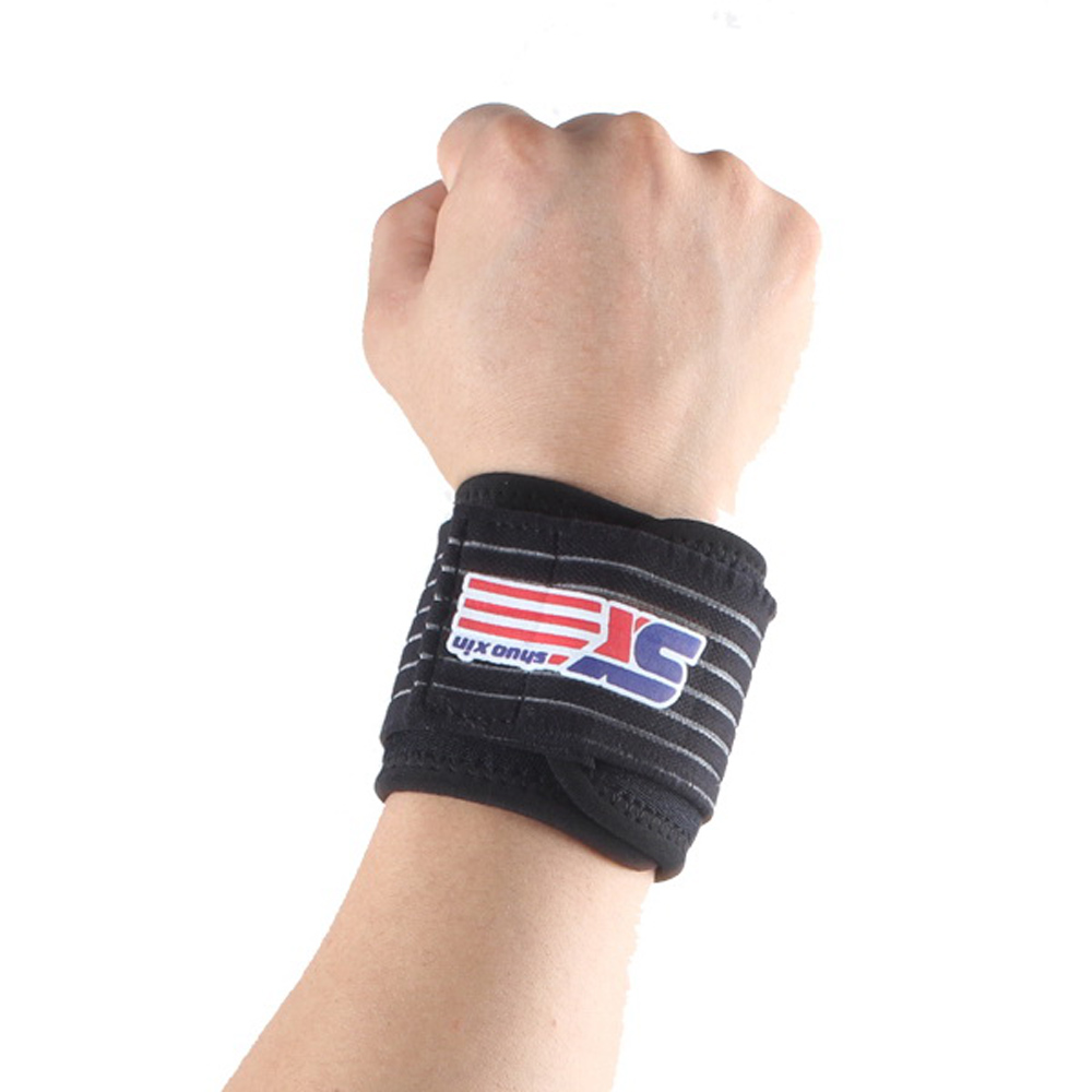 SX501A Adjustable Sports Gym Elastic Stretchy Wristband Wrist Joint Brace Support Wrap Strap Band Guard Protector Black