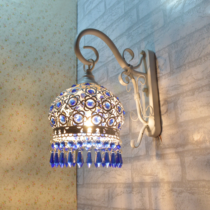 Mediterranean Wall Lamp Crystal Iron Art Wall Light Creative Lamp Of Bedroom The Head Of a Bed The Study Corridor Wall Lamp<br><br>Aliexpress