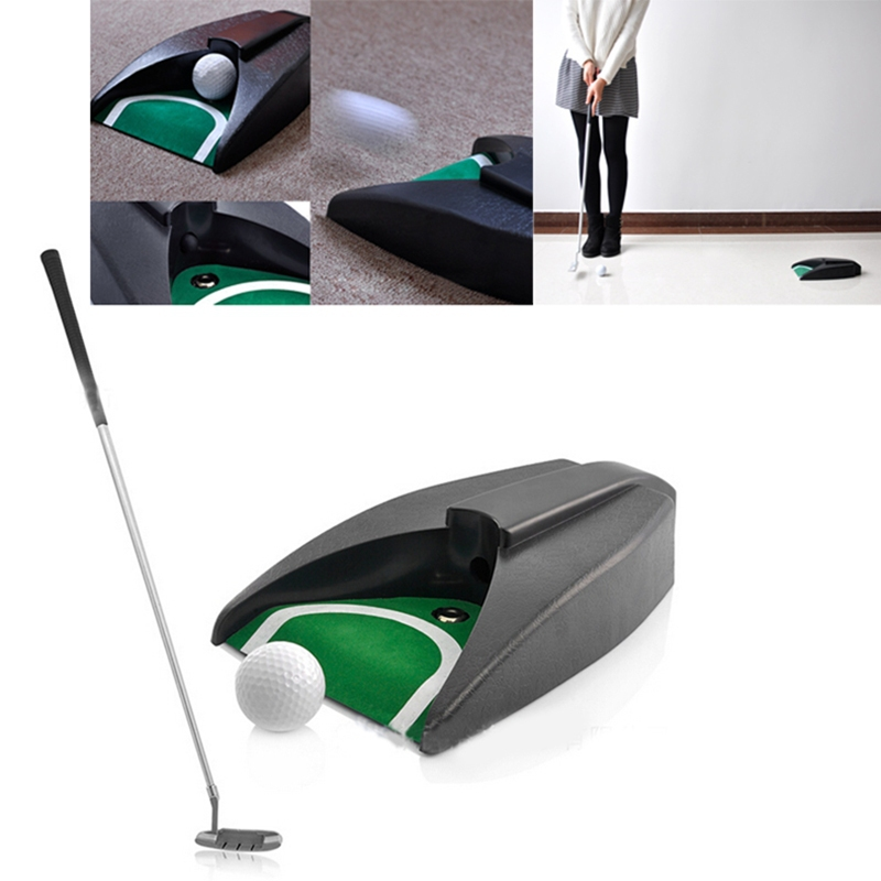 Aliexpress 2017 New Home Indoor Office Golf Training Set Auto Putting Cup Ball Return System Zinc Alloy