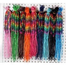 10pcs/lot Women Wood Beads Weave Rope String Children Girl Friendship Bracelets Handmade Charm Strand Bangle Jewelry(China (Mainland))