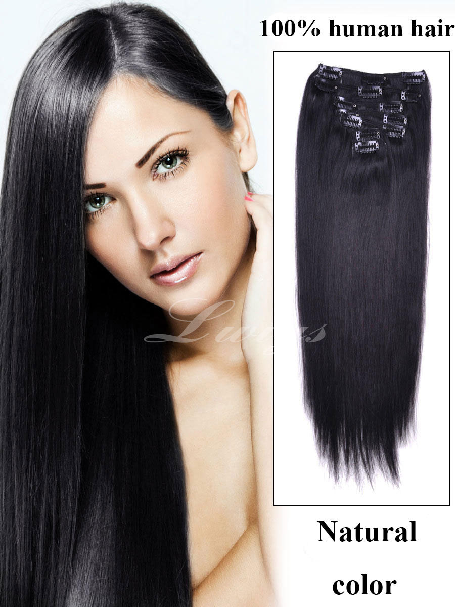 Straight clip human hair extension,natural color black 100% human hair 7pcs clip in hair extensions 12-26inch with free shipping<br><br>Aliexpress